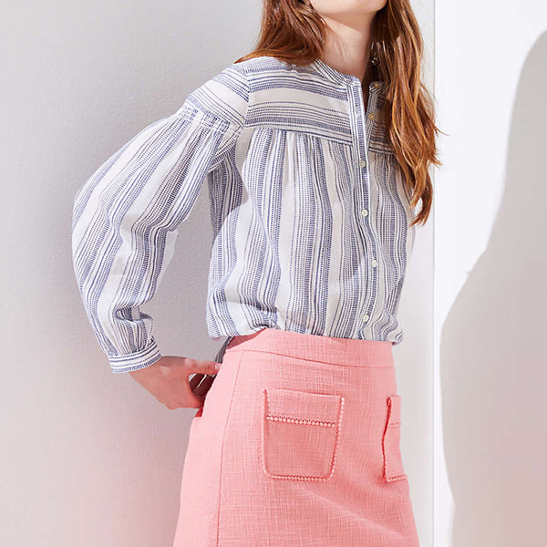 Tie-Front Striped Cropped Top